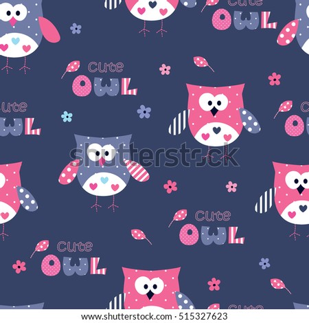 Seamless pattern with cute owls, lettering and floral elements.Cartoon vector illustration.