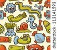 seamless pattern with cute sea monsters - stock