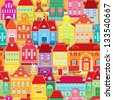 Seamless pattern with decorative colorful houses.  City endless background. - stock photo