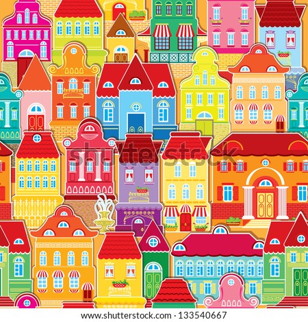 Seamless pattern with decorative colorful houses.  City endless background.