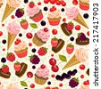 Seamless pattern with desserts and berries. - stock vector