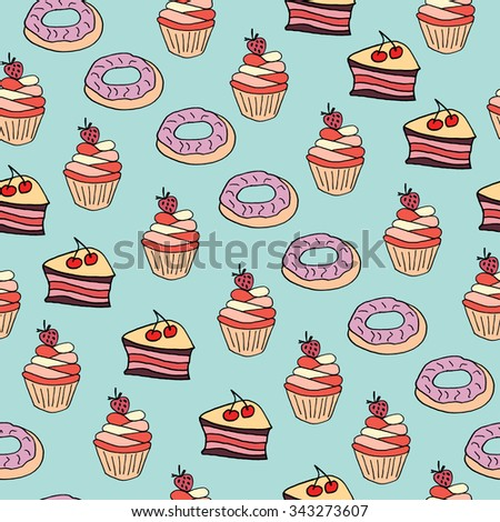 Seamless pattern with desserts. Hand drawn doodle black and white ink illustration vector for design, background, banner, cards, invitations.