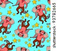 seamless pattern with devil cartoons - stock photo
