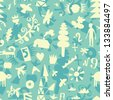 Seamless pattern with different objects from the life of - stock photo