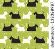 Seamless pattern with dogs silhouettes. Scottie and westie. Vector background. - stock vector