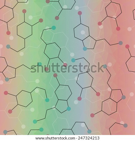 Seamless pattern with dopamine and serotonin molecules. Joy hormones. Natural antidepressant concept