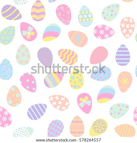 Seamless Pattern With Easter Eggs In Pastel Color Vector Illustration