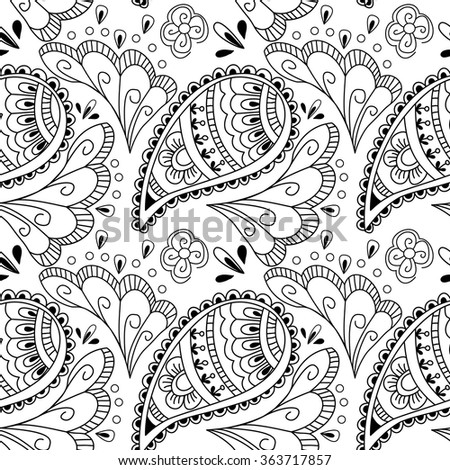 Seamless pattern with elements henna style. Background, wallpaper, textile, cover, wrapper.