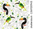Seamless pattern with exotic birds  - stock vector