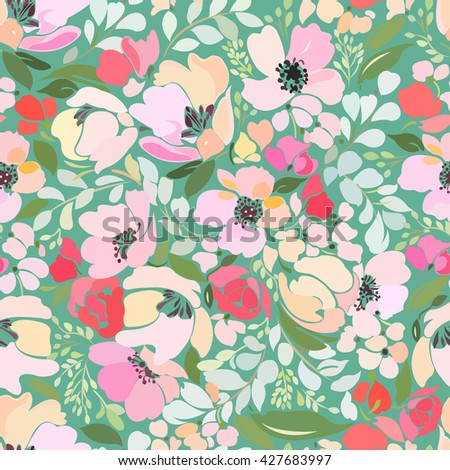 Seamless pattern with floral design elements with abstract roses, peony, poppy and twigs with leaves on a turquoise background.
