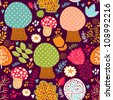 Seamless pattern with flowers, leaves and trees. Autumn seamless pattern - stock vector