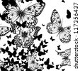 Seamless pattern with flying butterflies, hand drawing. Vector illustration. - stock vector