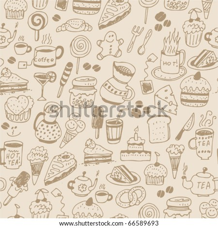 Seamless pattern with food