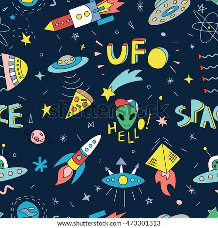Seamless pattern with funny cartoon spaceships