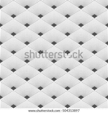 Seamless pattern with geometrical figures. Monochrome image.