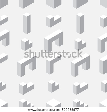 Seamless pattern with geometrical figures. Shades of gray. Monochrome background. Constructor.