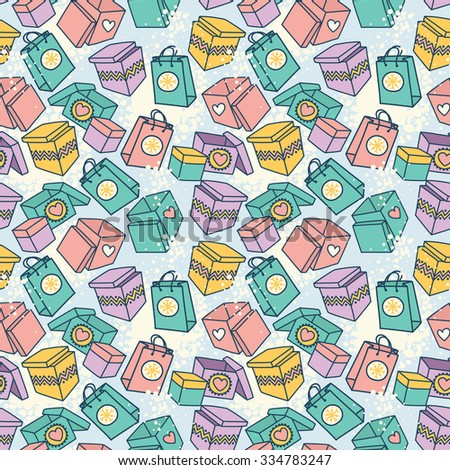 seamless pattern with gift boxes for christmas sale, vector illustration