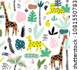 seamless pattern with giraffe ...