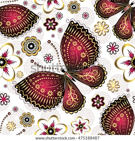 Seamless pattern with gold-purple vintage butterflies and flowers, vector