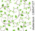 Seamless pattern with green leaves. Vector illustration. - stock vector