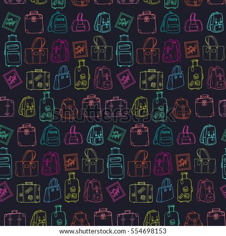 Seamless pattern with hand drawing luggage. Different colorful suitcases, bags and backpacks on dark chalkboard background.