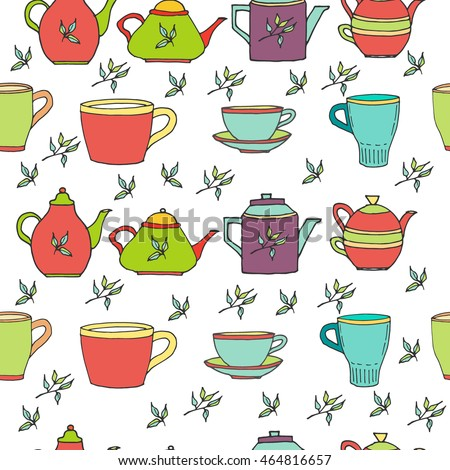 Seamless pattern with hand drawn colored tea pots, tea cups, tea leafs. Vector stock illustration. Elements for menu for restaurants and cafe. Wrapping paper.