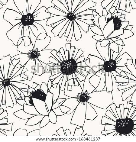 Seamless pattern with hand drawn flowers. Vector illustration