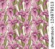 Seamless pattern with hand drawn irises - stock vector