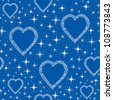 seamless pattern with hearts from blue snow flakes, background print - stock vector