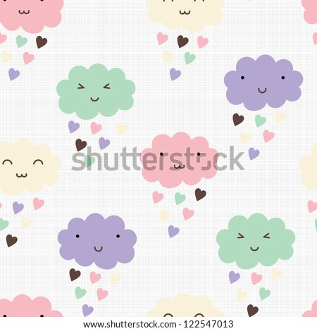 Seamless pattern with hearts rain and cute smiling clouds