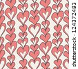 Seamless pattern with hearts. Valentines Day background. Hand drawn doodle - stock vector