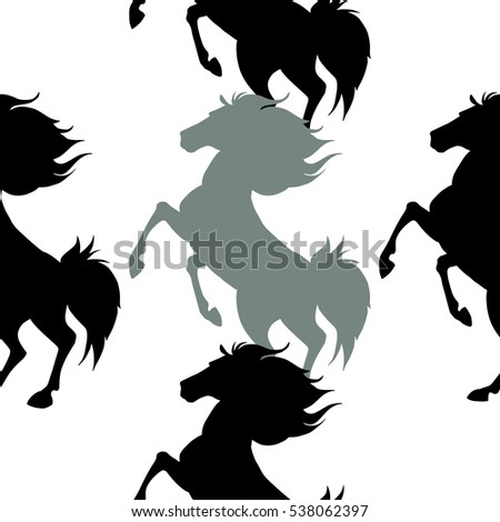 Seamless pattern with horses. Vector illustration
