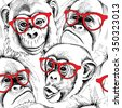Seamless pattern with image of a character monkey portraits in red glasses. Vector illustration. - stock vector