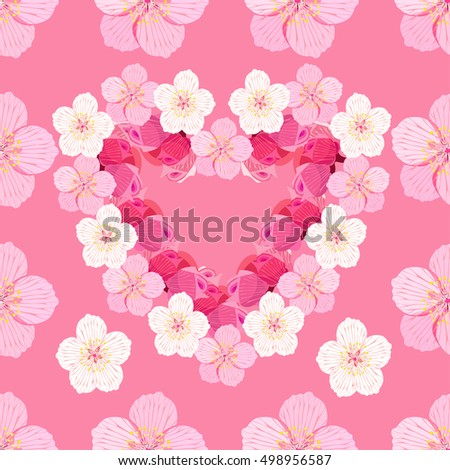 seamless pattern with Japanese cherry blossom in the the form of heart on a pink vector illustration