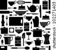 Seamless pattern with kitchen items in black and white. - stock vector