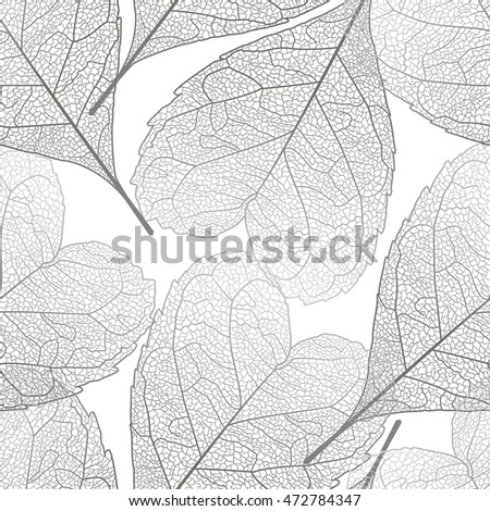 Seamless pattern with  leaves.Heart-shaped leaves.Vector illustration, EPS 10.