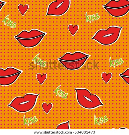 Seamless pattern with lips kiss on orange background.