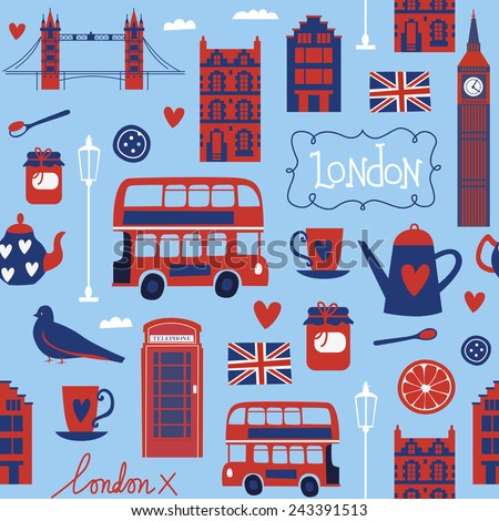 Seamless pattern with Londonstyle elements