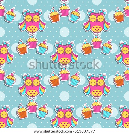 Seamless pattern with owls and cakes