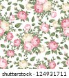 Seamless pattern with pink and white roses. Vector illustration. - stock vector