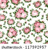 Seamless pattern with pink roses. Vector illustration. - stock vector