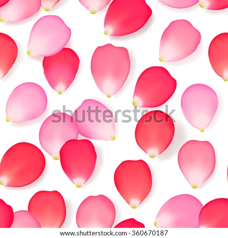 Seamless pattern with rose flower petals