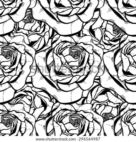 Seamless pattern with roses, monochrome