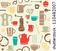 Seamless pattern with scratched coffee related elements - stock photo