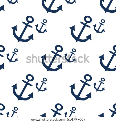 Seamless pattern with sea anchors on a white background