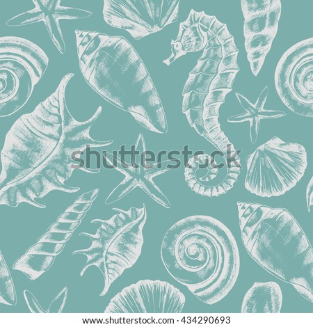 seamless pattern with seashells, starfish and seahorse sketch in retro style, vector Stock