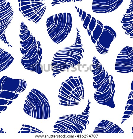 Seamless pattern with seashells. Vector.