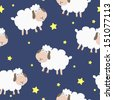 Seamless pattern with sheep in night - stock