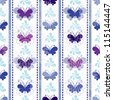 Seamless pattern with silhouettes butterflies and lines (vector EPS 10) - stock photo