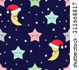 Seamless pattern with sleeping stars and moon with Santa Claus Hat for kids holidays. Winter holidays concept. Xmas illustration. Cute baby shower vector background.  - stock vector